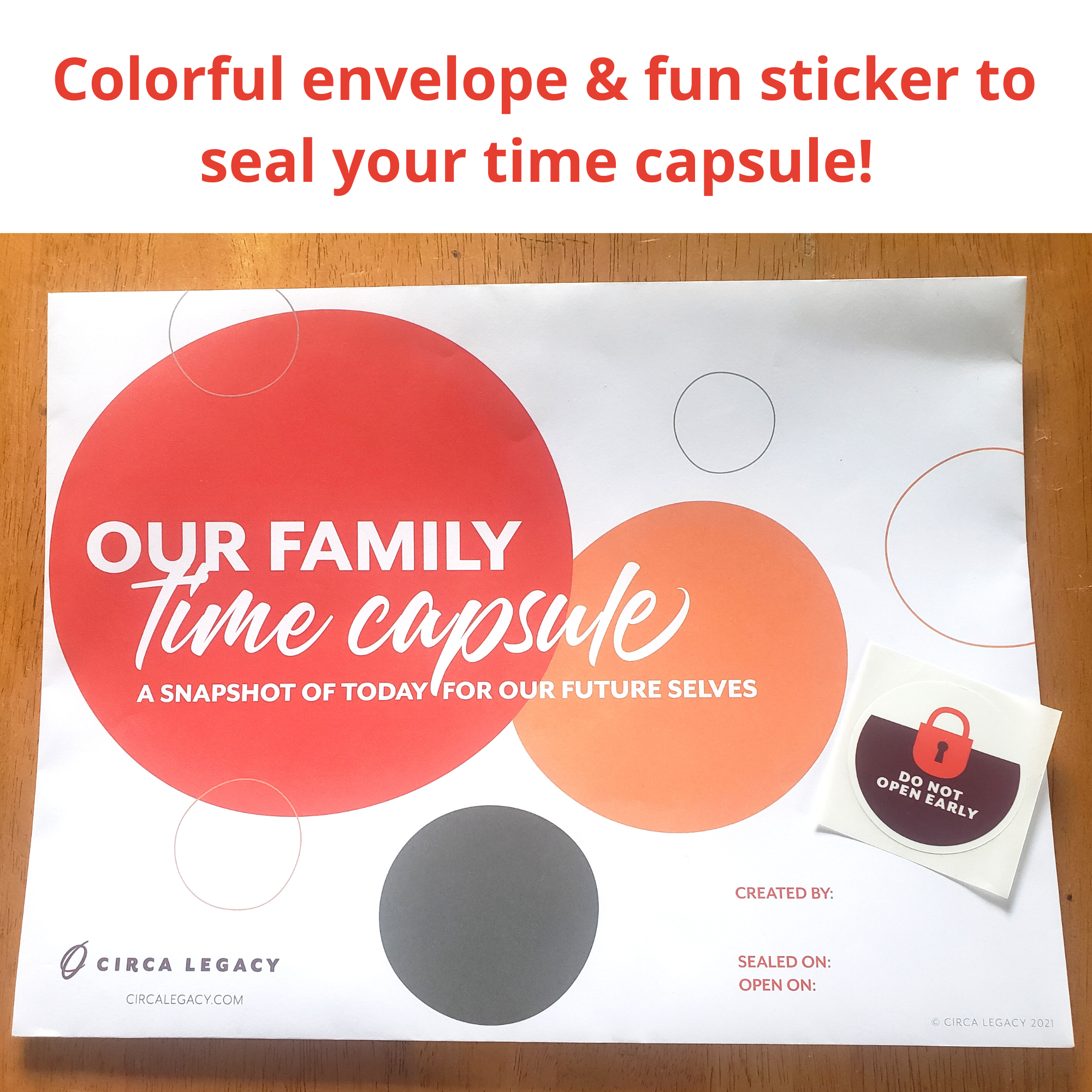 Circa Legacy Family Time Capsule envelope and sealing sticker