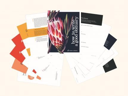Colorful worksheets part of the downloadable How to Write a Good Obituary Kit created by Circa Legacy.