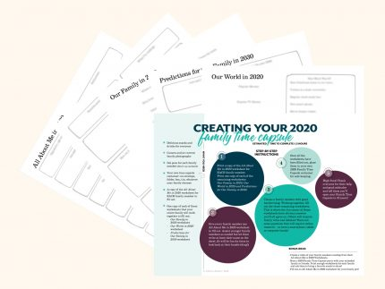 Worksheets in the downloadable 2020 Family Time Capsule Kit created by Circa Legacy