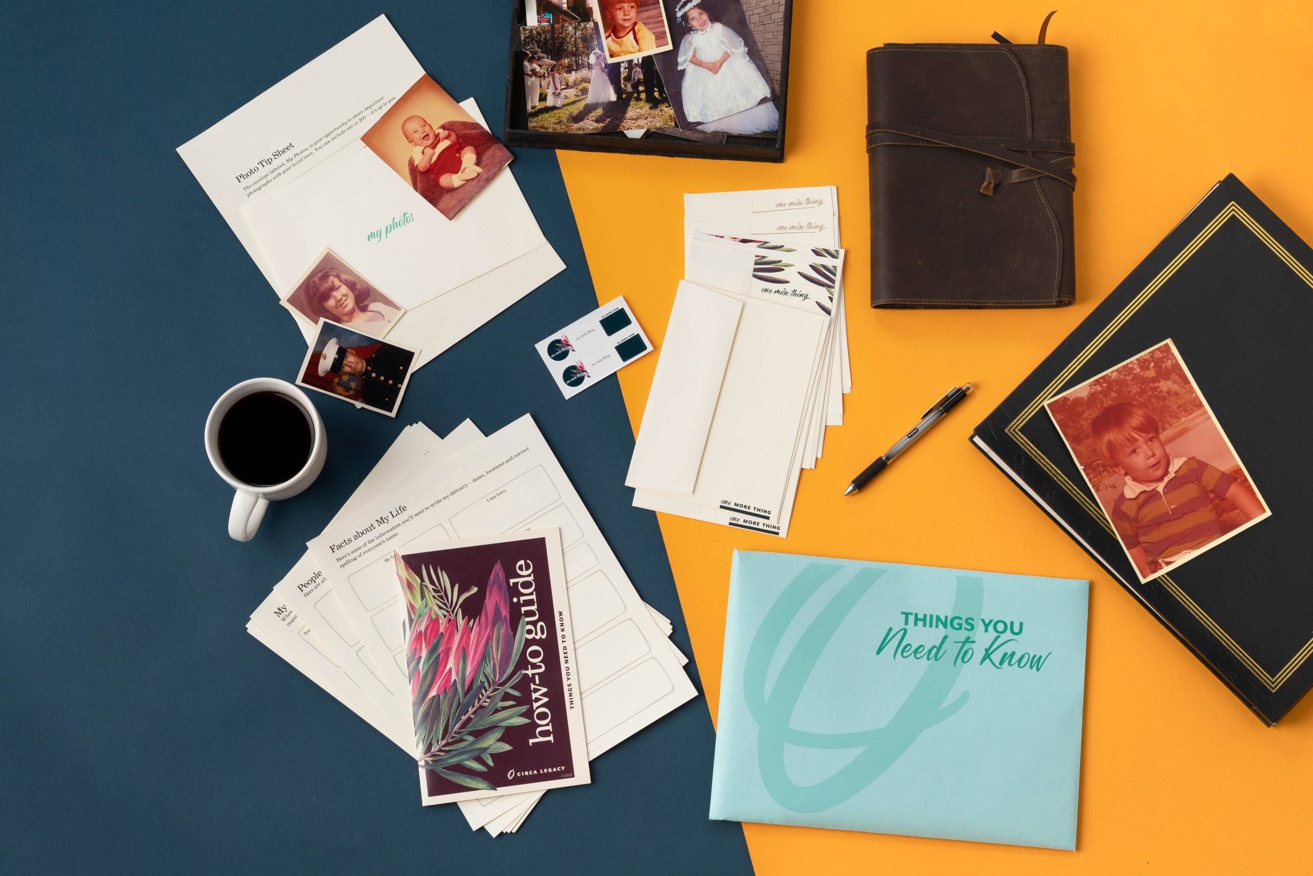 Things You Need to Know Kit by Circa Legacy contents with photographs, journal, photo album, and coffee mug.